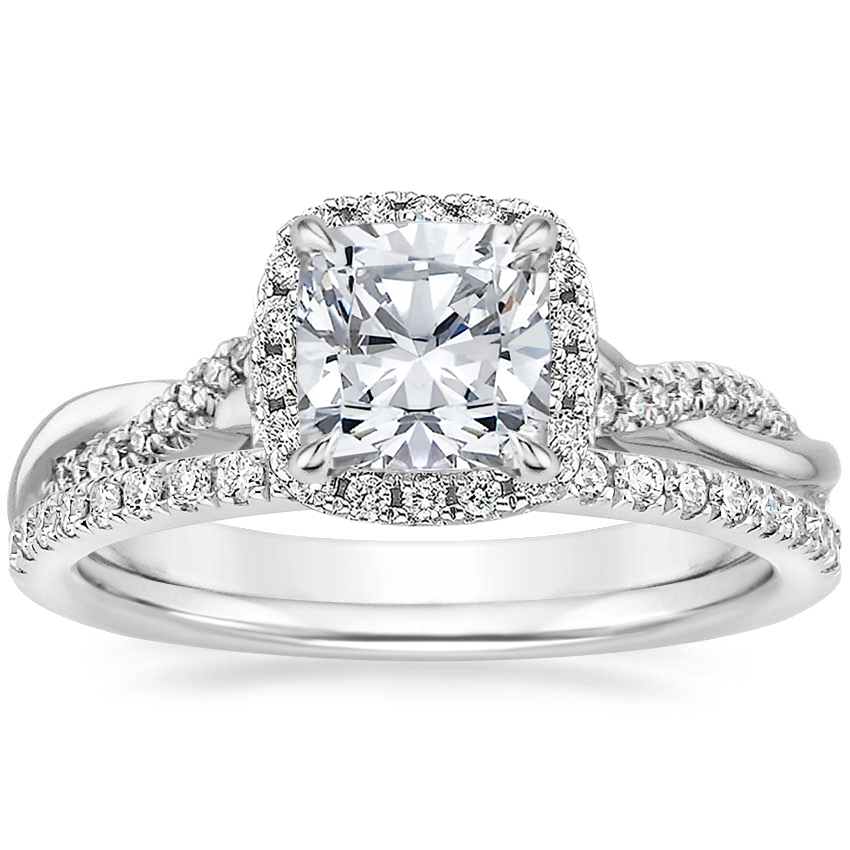 18K White Gold Petite Twisted Vine Halo Diamond Ring (1/4 ct. tw.) with Ballad Diamond Ring (1/6 ct. tw.)