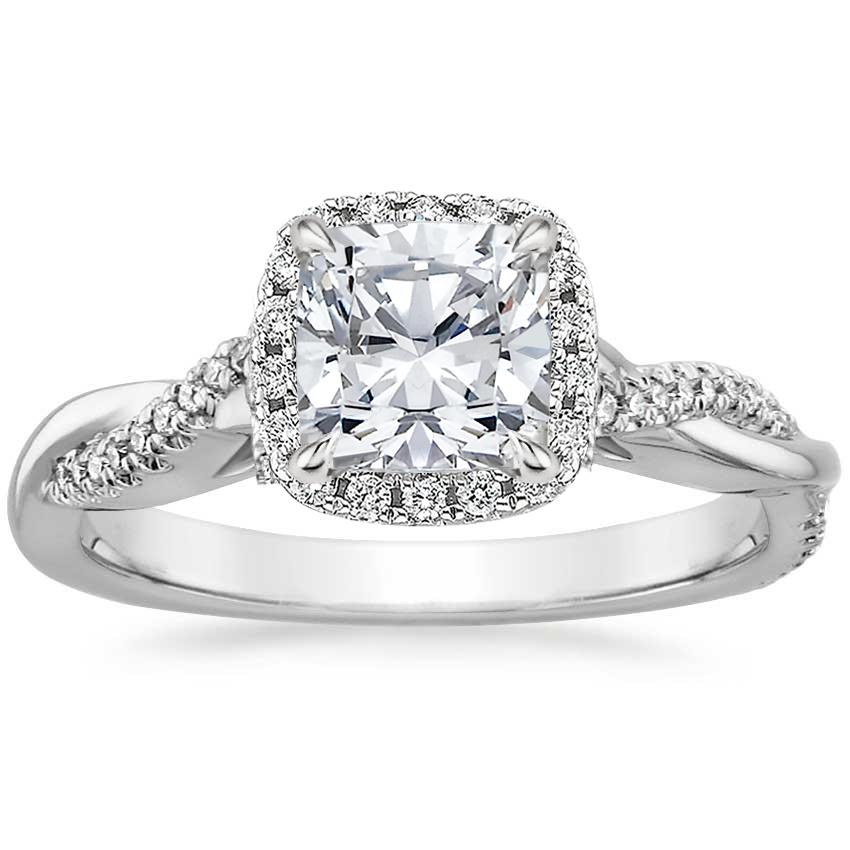 Cushion Twist Halo Engagement Ring