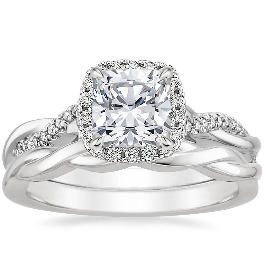 18K White Gold Petite Twisted Vine Halo Diamond Ring (1/4 ct. tw.) with Twisted Vine Ring