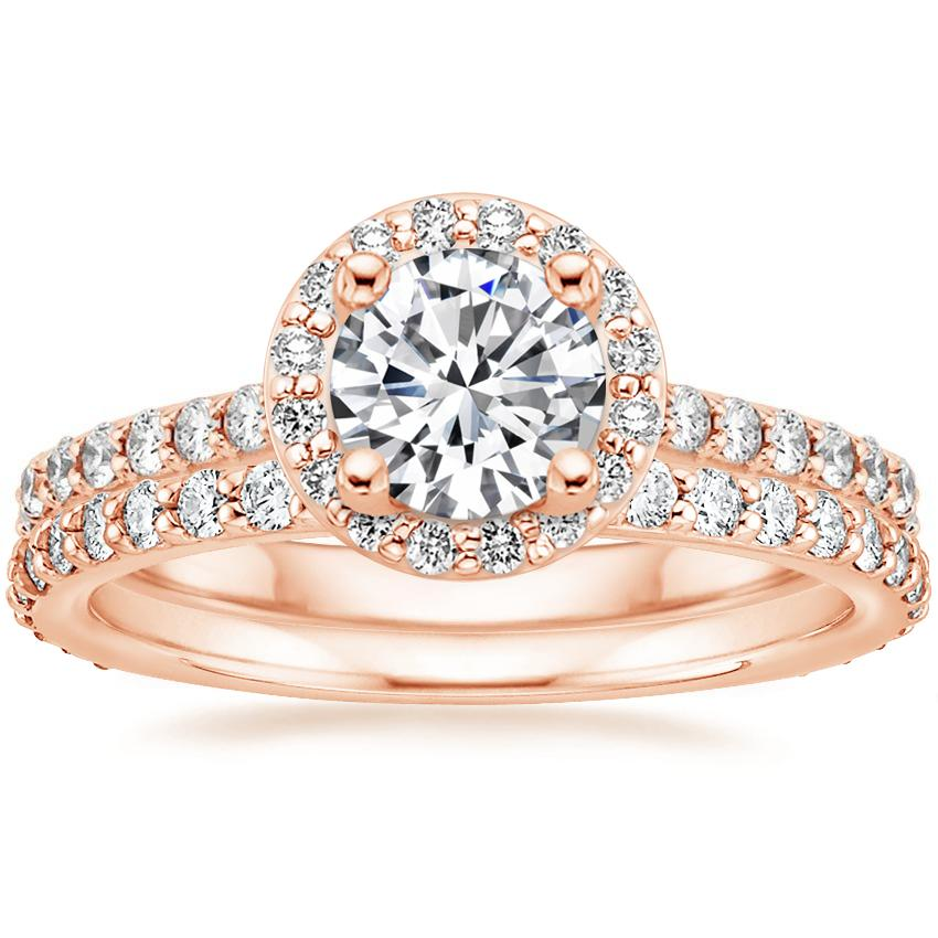 14K Rose Gold Halo Diamond Ring with Side Stones (1/3 ct. tw.) with Luxe Petite Shared Prong Diamond Ring (3/8 ct. tw.)