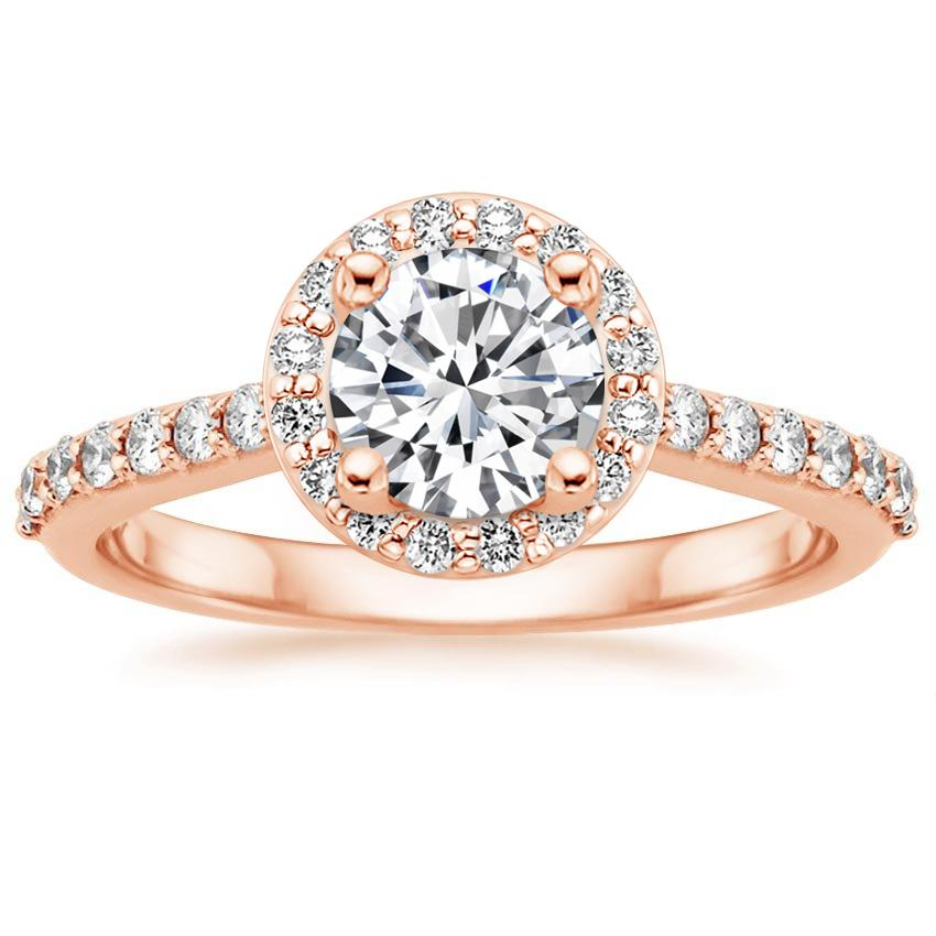 Round 14K Rose Gold Halo Diamond Ring with Side Stones (1/3 ct. tw.)
