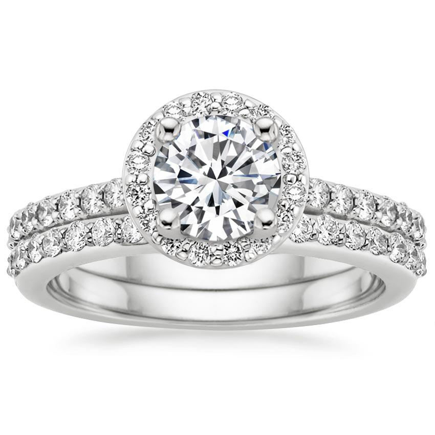 18K White Gold Halo Diamond Ring with Side Stones with Petite Shared Prong Diamond Ring