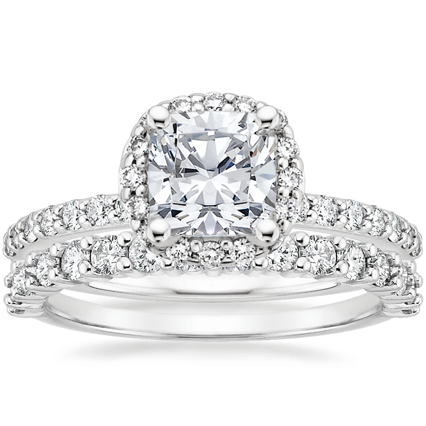 18K White Gold Shared Prong Halo Diamond Ring with Shared Prong Diamond Ring (1/2 ct. tw.)