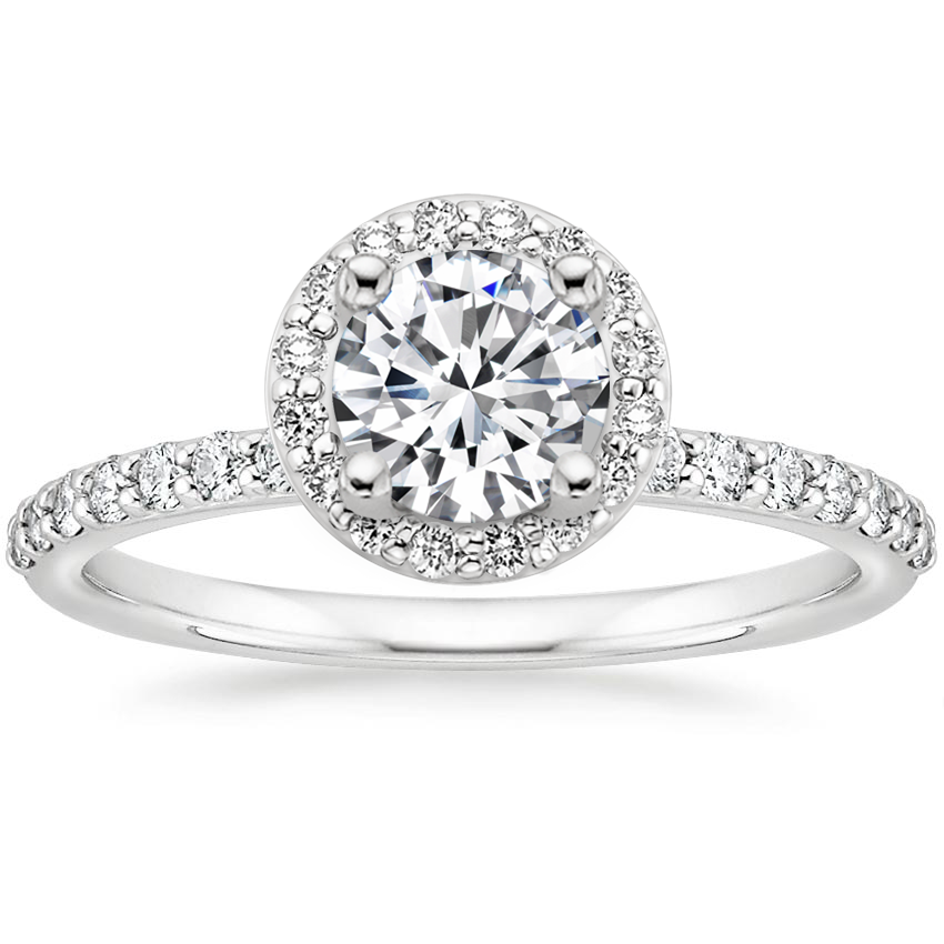 Round Shared Prong Diamond Halo Engagement Ring