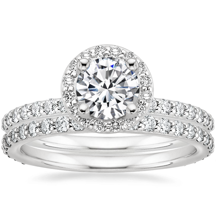 Platinum Shared Prong Halo Diamond Ring with Petite Shared Prong Eternity Diamond Ring (1/2 ct. tw.)