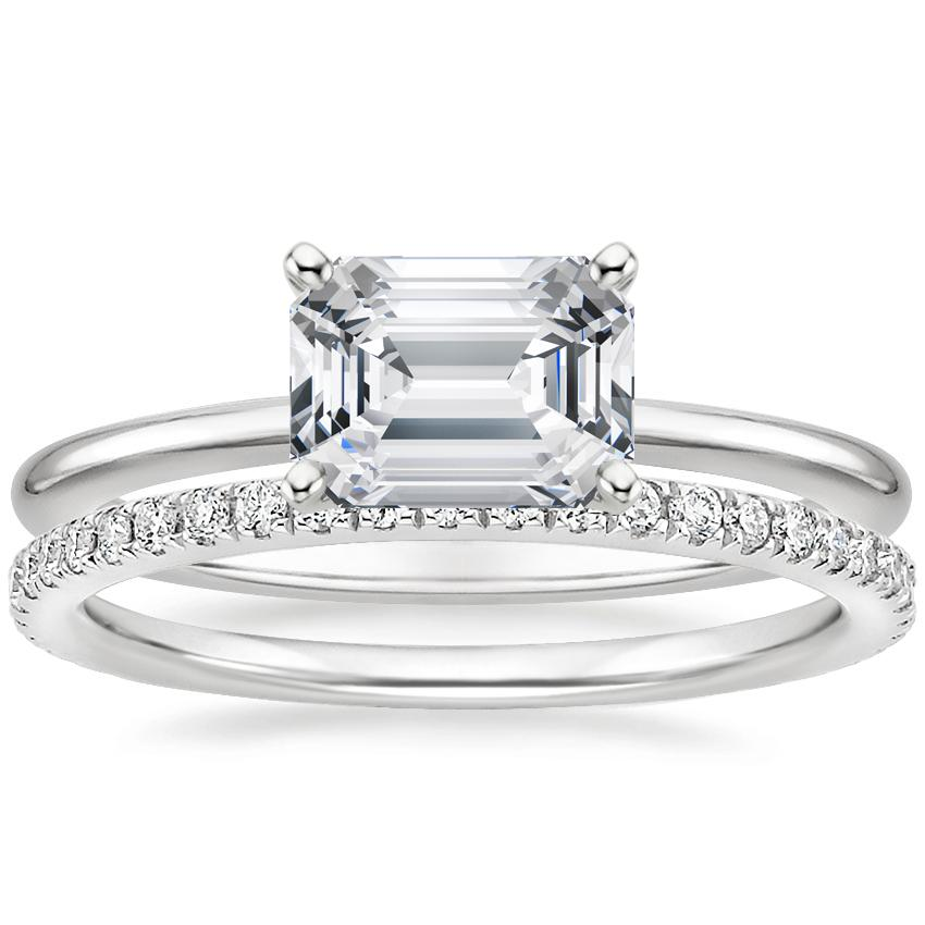 Platinum Horizontal Petite Comfort Fit Ring with Luxe Ballad Diamond Ring (1/4 ct. tw.)