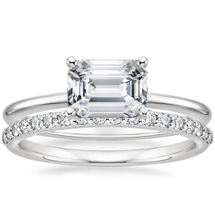 18K White Gold Horizontal Petite Comfort Fit Ring with Petite Shared Prong Diamond Ring (1/4 ct. tw.)