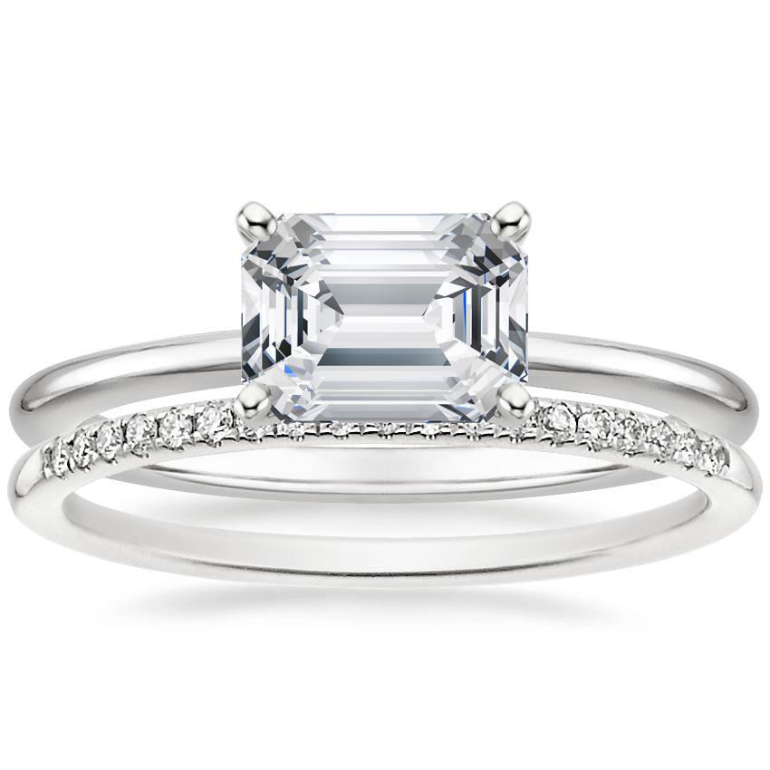Platinum Horizontal Petite Comfort Fit Ring with Whisper Diamond Ring (1/10 ct. tw.)