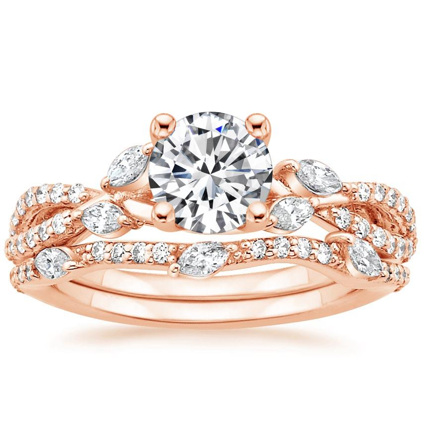 14K Rose Gold Luxe Willow Bridal Set (1/2 ct. tw.), top view