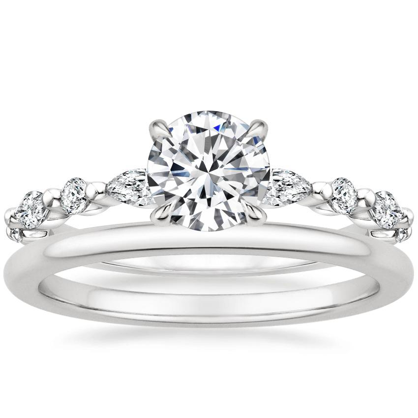 18K White Gold Versailles Diamond Ring with Petite Comfort Fit Wedding Ring