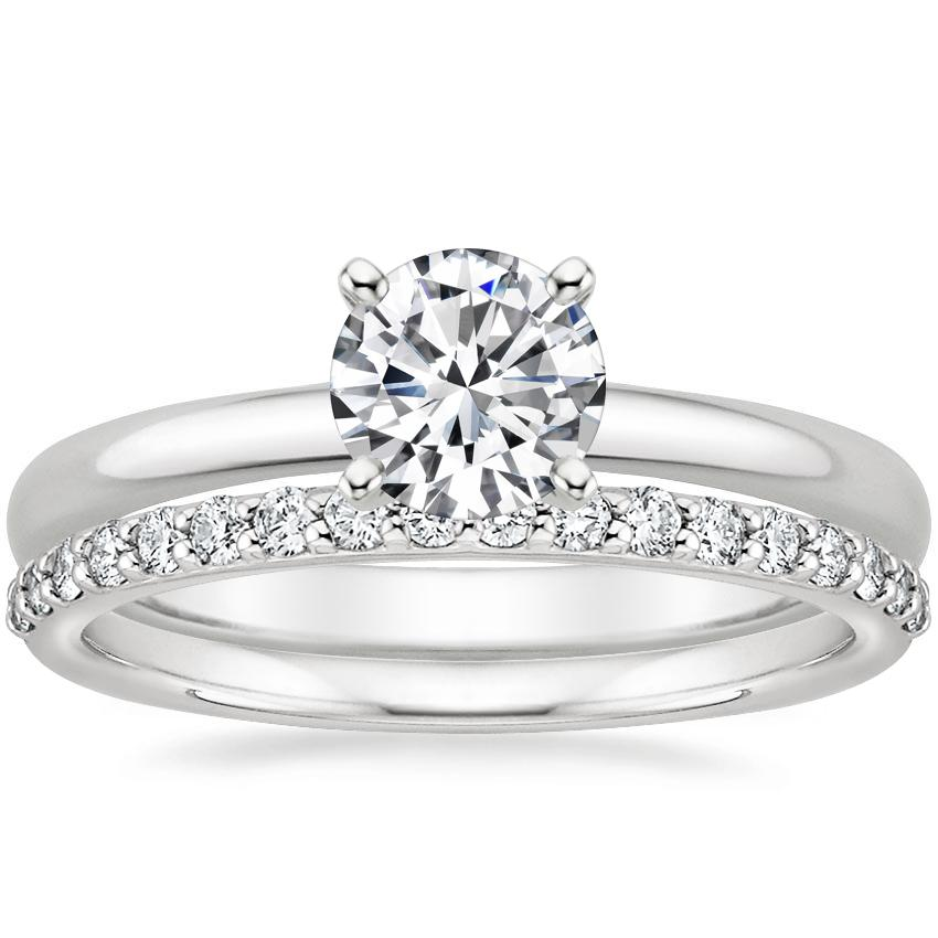 18K White Gold 2mm Comfort Fit Ring with Petite Shared Prong Diamond Ring (1/4 ct. tw.)