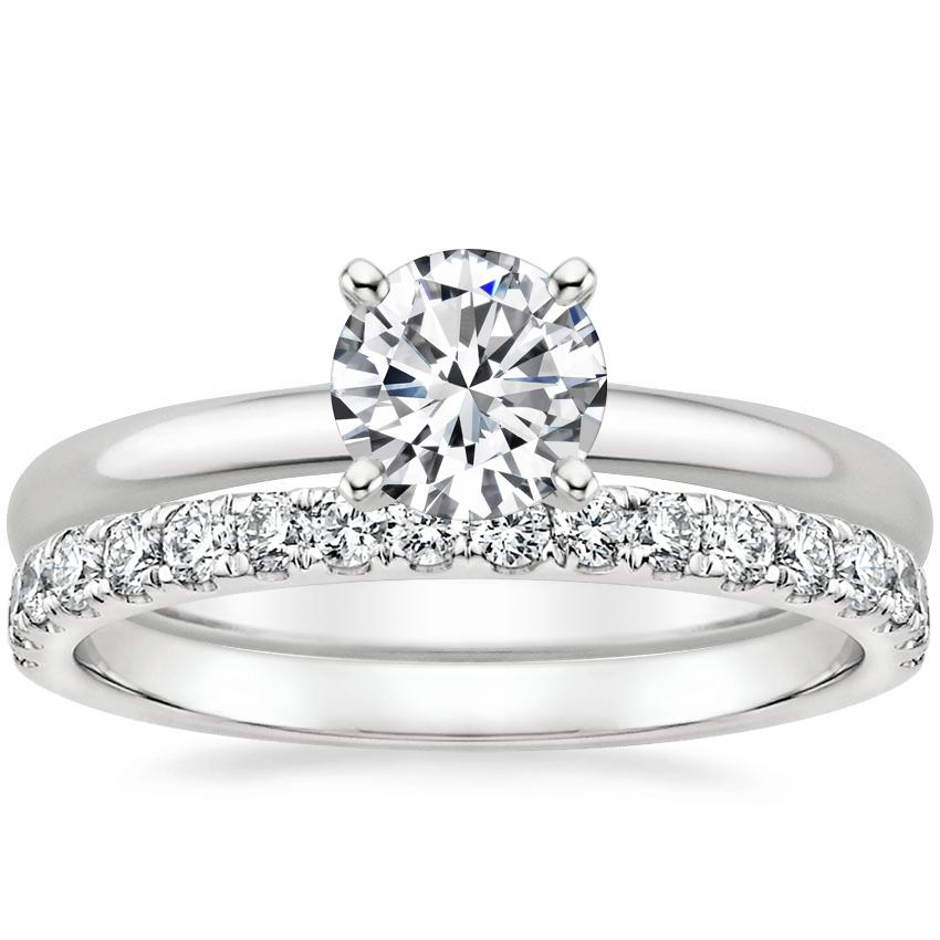 18K White Gold 2mm Comfort Fit Ring with Constance Diamond Ring (1/3 ct. tw.)