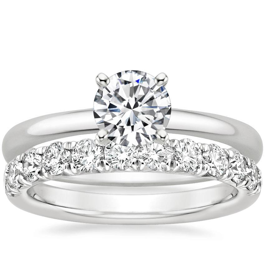 18K White Gold 2mm Comfort Fit Ring with Luxe Anthology Diamond Ring (2/3 ct. tw.)