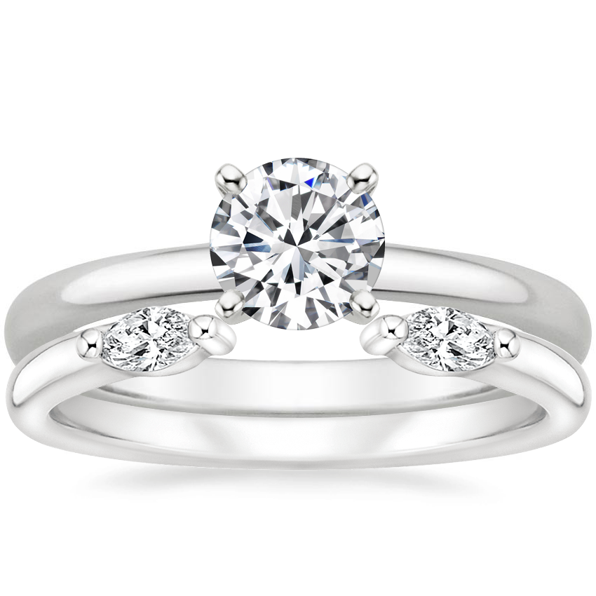 18K White Gold 2mm Comfort Fit Ring with Nora Diamond Ring