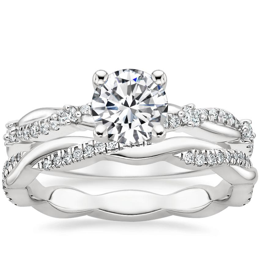 18K White Gold Meadow Diamond Ring with Petite Twisted Vine Eternity Diamond Ring (1/5 ct. tw.)