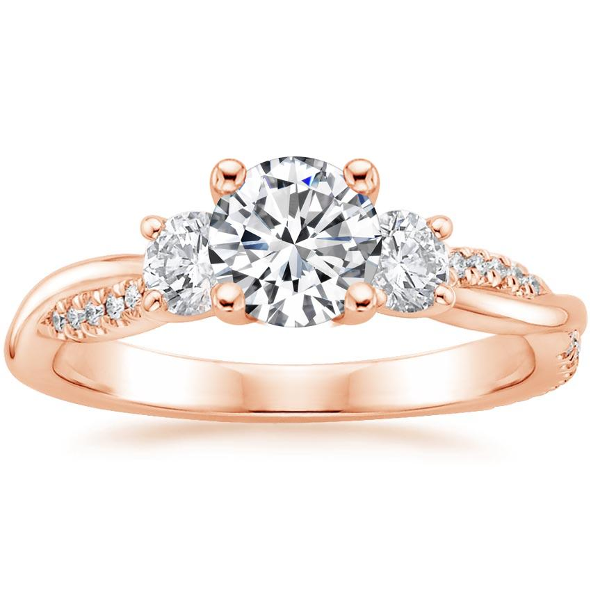 Round 14K Rose Gold Three Stone Petite Twisted Vine Diamond Ring (2/5 ct. tw.)