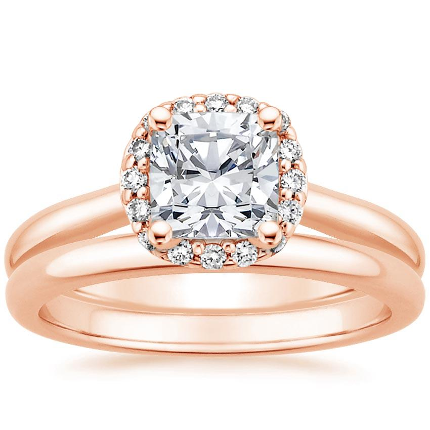 14K Rose Gold Fancy Halo Diamond Bridal Set (1/6 ct. tw.)