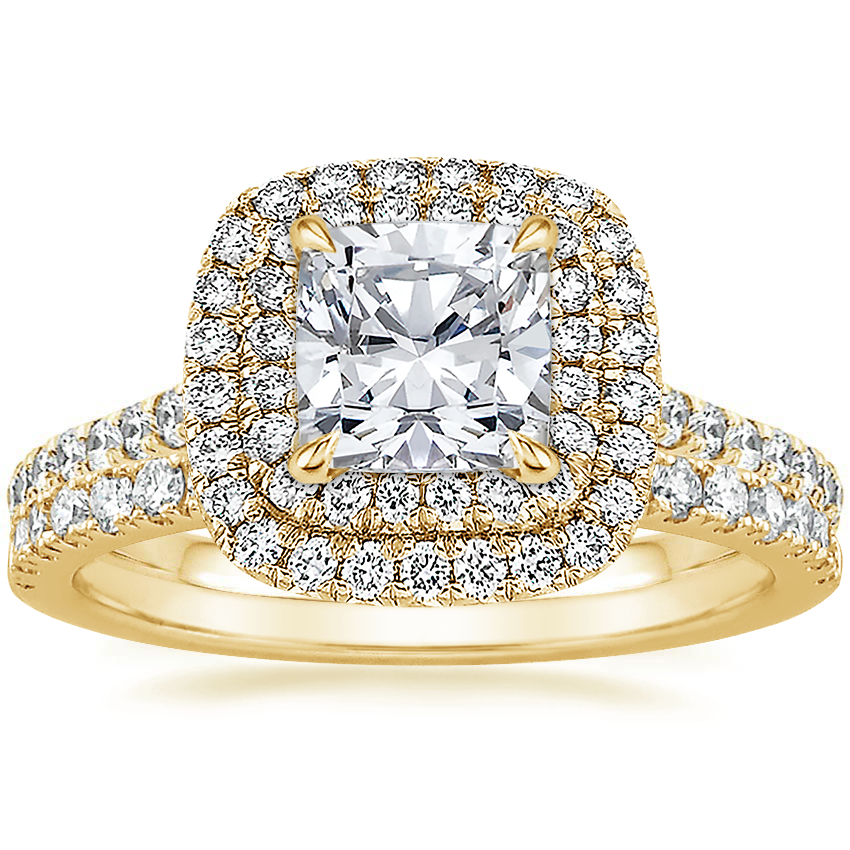 18K Yellow Gold Soleil Diamond Ring with Bliss Diamond Ring (1/5 ct. tw.)