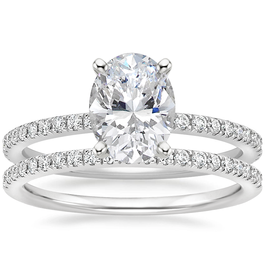 18K White Gold Luxe Ballad Diamond Ring (1/4 ct. tw.) with Ballad Diamond Ring (1/6 ct. tw.)