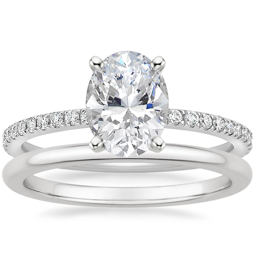 18K White Gold Luxe Ballad Diamond Ring (1/4 ct. tw.) with Petite Comfort Fit Wedding Ring