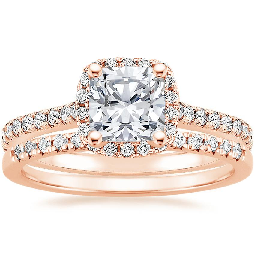 14K Rose Gold Luxe Odessa Diamond Ring (1/3 ct. tw.) with Sonora Diamond Ring (1/8 ct. tw.)