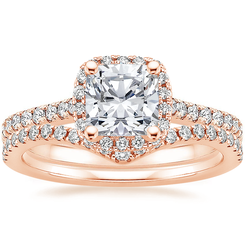 14K Rose Gold Luxe Odessa Diamond Ring (1/3 ct. tw.) with Flair Diamond Ring (1/6 ct. tw.)