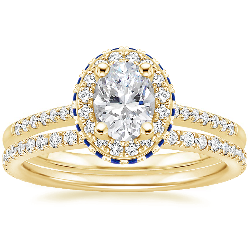 18K Yellow Gold Circa Diamond Ring with Sapphire Accents (1/4 ct. tw.) with Luxe Ballad Diamond Ring (1/4 ct. tw.)