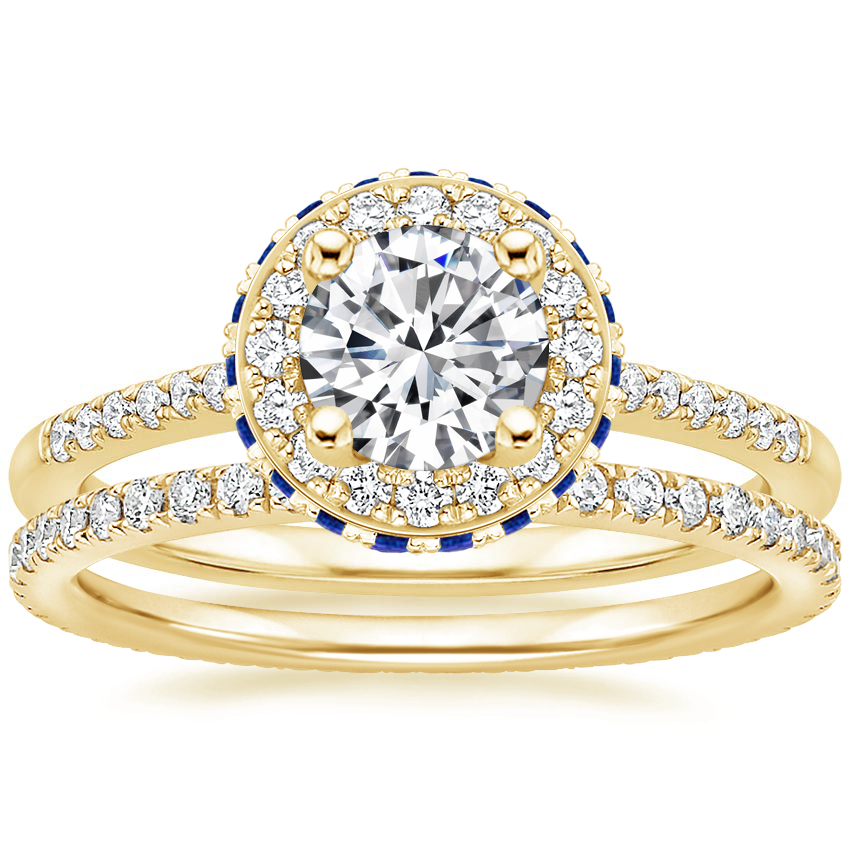 18K Yellow Gold Circa Diamond Ring with Sapphire Accents (1/4 ct. tw.) with Ballad Eternity Diamond Ring (1/3 ct. tw.)