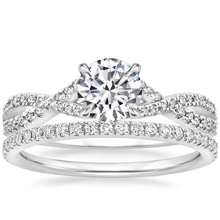 18K White Gold Chloe Diamond Ring (1/4 ct. tw.) with Luxe Ballad Diamond Ring (1/4 ct. tw.)