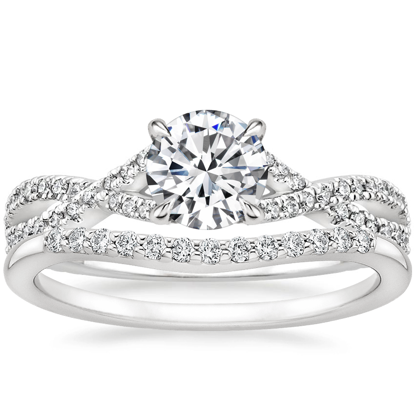 18K White Gold Chloe Diamond Ring (1/4 ct. tw.) with Petite Curved Diamond Ring (1/10 ct. tw.)
