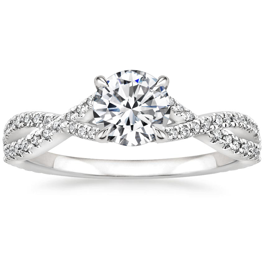 Round Twisting Diamond Engagement Ring