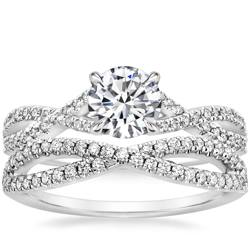Platinum Chloe Diamond Ring (1/4 ct. tw.) with Entwined Diamond Ring (1/4 ct. tw.)