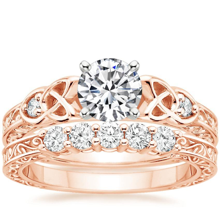 14K Rose Gold Aberdeen Diamond Ring with Delicate Antique Scroll Five Stone Diamond Ring (1/4 ct. tw.)