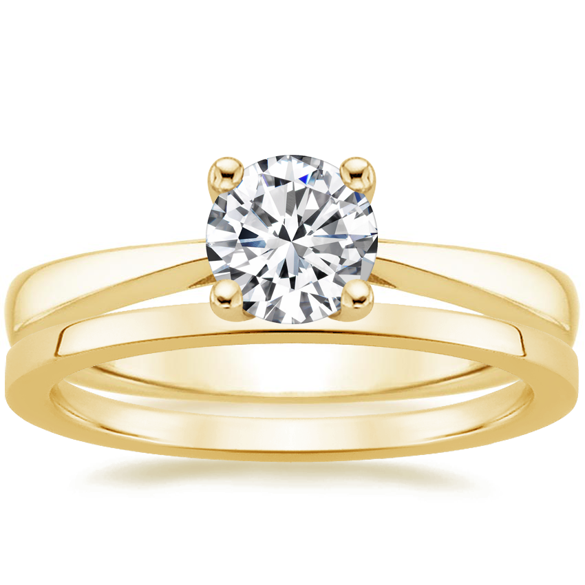 18K Yellow Gold Petite Tapered Trellis Ring with Petite Quattro Wedding Ring