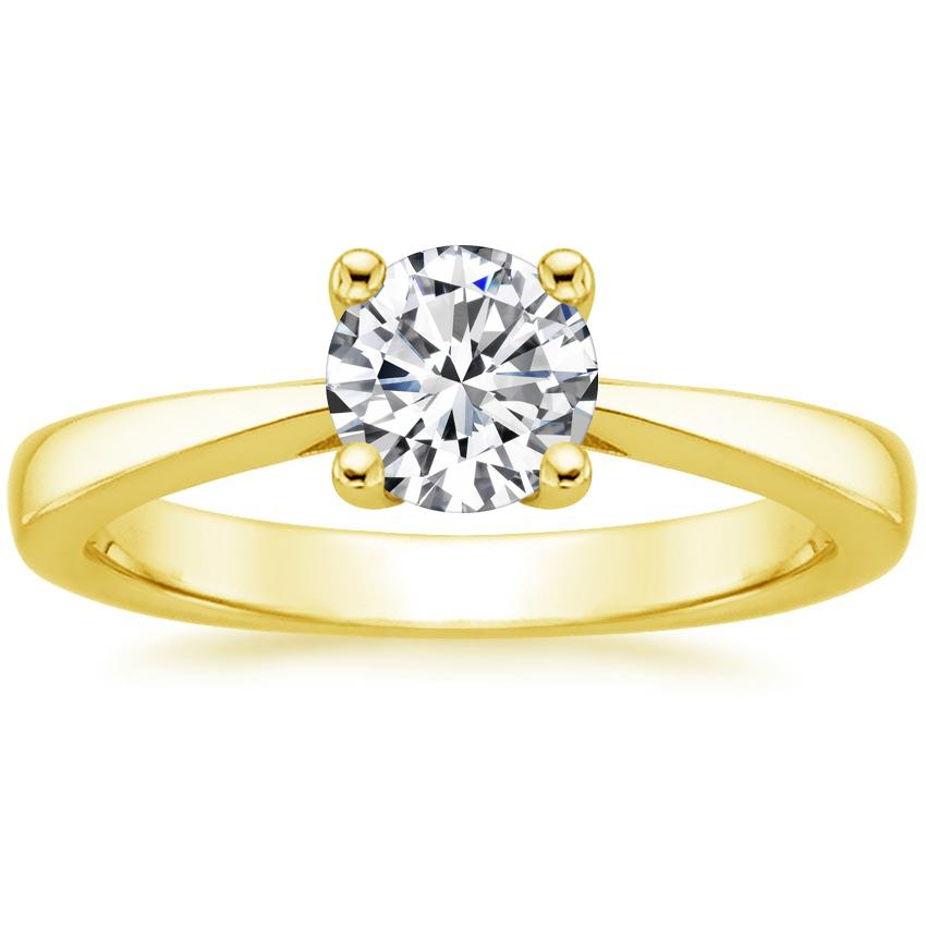 Round 18K Yellow Gold Petite Tapered Trellis Ring