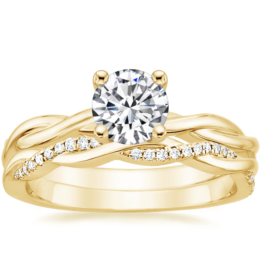18K Yellow Gold Twisted Vine Ring with Petite Twisted Vine Diamond Ring (1/8 ct. tw.)
