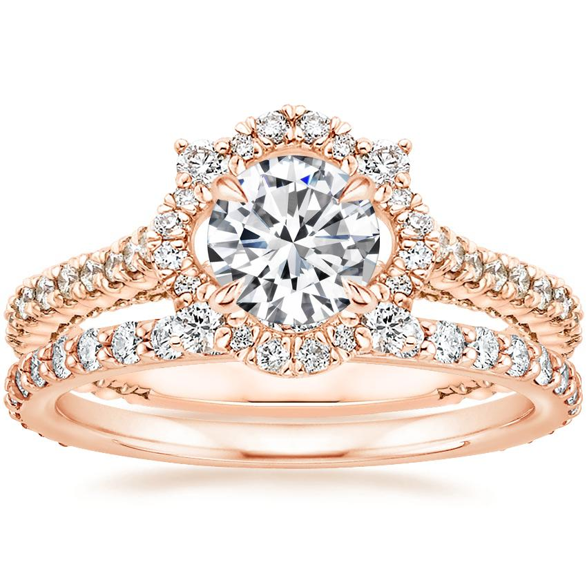 14K Rose Gold Fleur Halo Diamond Ring with Petite Shared Prong Eternity Diamond Ring (1/2 ct. tw.)