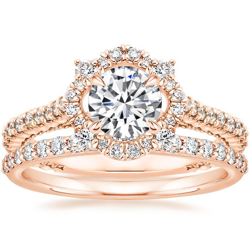14K Rose Gold Fleur Halo Diamond Ring with Petite Shared Prong Diamond Ring (1/4 ct. tw.)