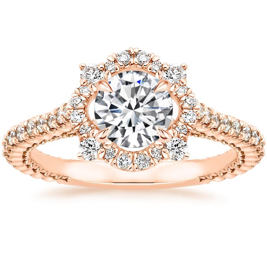 Round 14K Rose Gold Fleur Diamond Ring