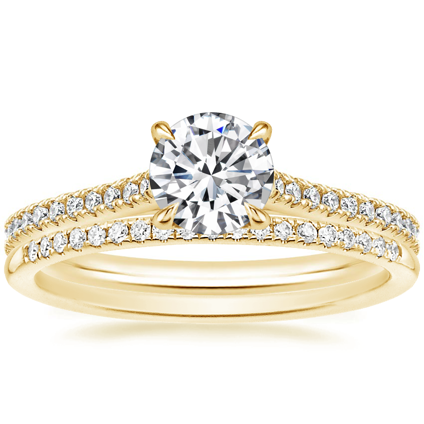 18K Yellow Gold Luxe Lissome Diamond Ring (1/5 ct. tw.) with Whisper Diamond Ring (1/10 ct. tw.)