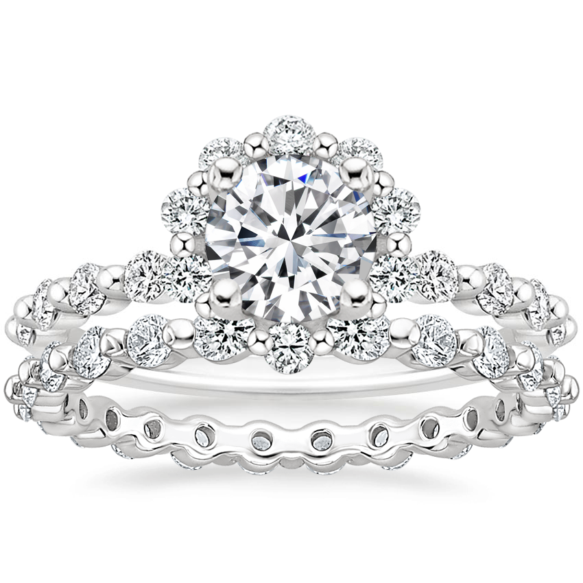 Platinum Marseille Halo Diamond Ring (1/2 ct. tw.) with Marseille Eternity Diamond Ring (2/3 ct. tw.)
