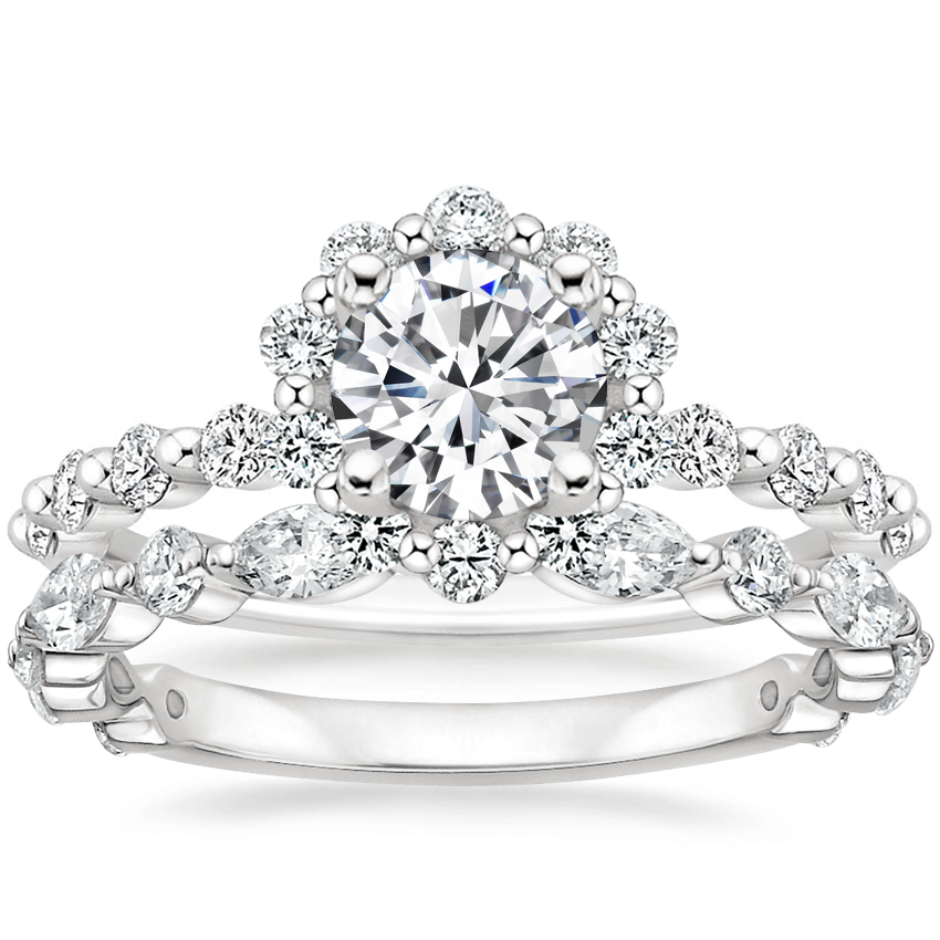 18K White Gold Marseille Halo Diamond Ring (1/2 ct. tw.) with Luxe Versailles Diamond Ring (5/8 ct. tw.)