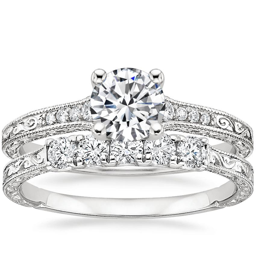 18K White Gold Luxe Hudson Diamond Ring with Hudson Five Stone Diamond Ring (1/4 ct. tw.)
