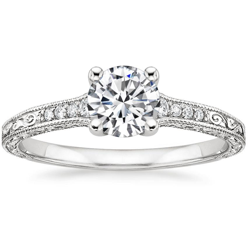 Round Diamond Engraved Vintage Ring
