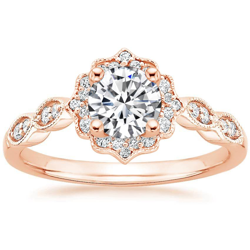 14k rose gold cadenza halo diamond ring. Black Bedroom Furniture Sets. Home Design Ideas