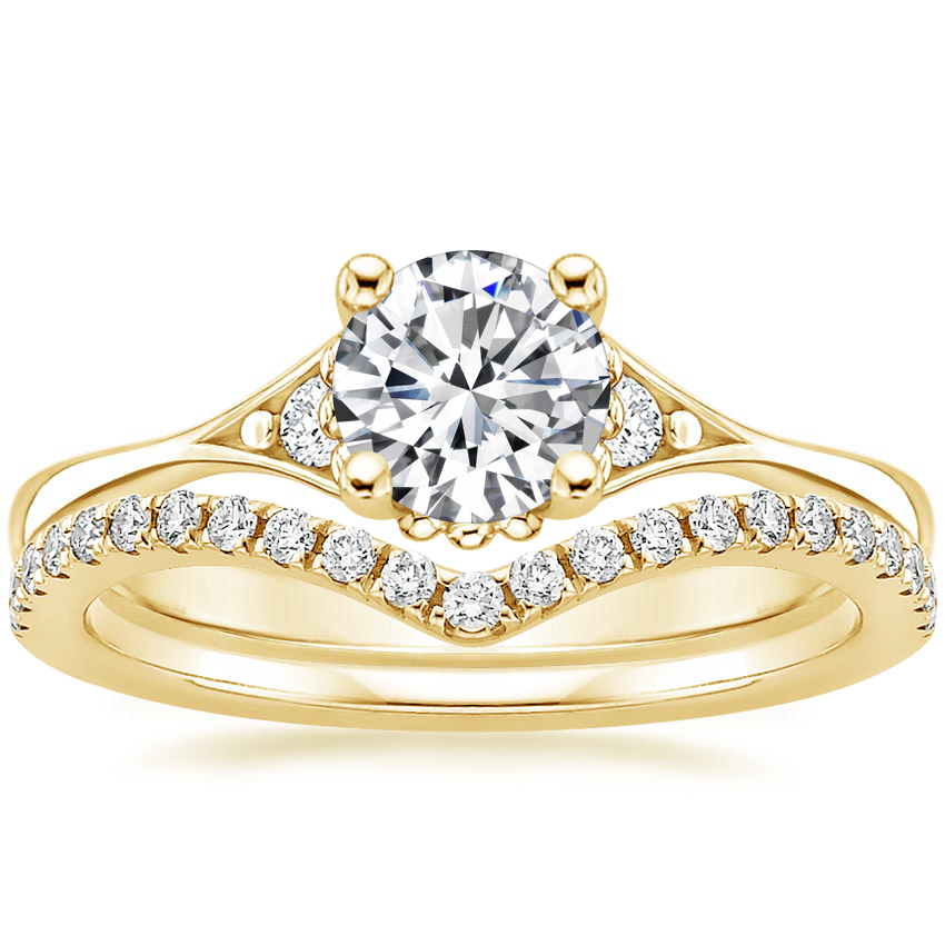 18K Yellow Gold Dolce Diamond Ring with Flair Diamond Ring (1/6 ct. tw.)