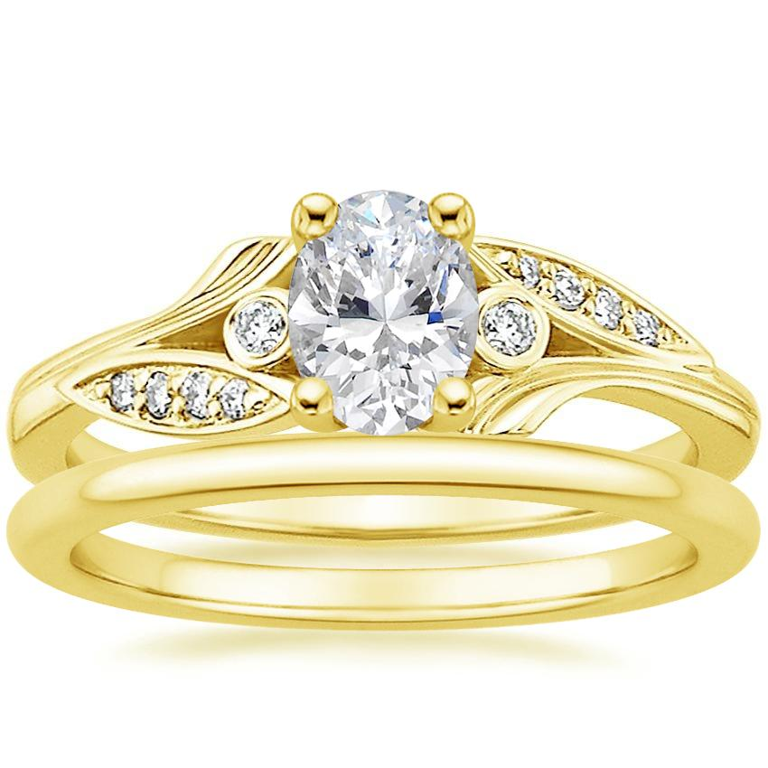 18K Yellow Gold Jasmine Diamond Ring with Petite Comfort Fit Wedding Ring