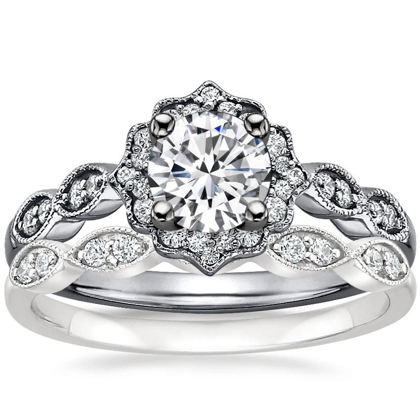 18K White Gold Black Rhodium Cadenza Halo Diamond Ring with Cadenza Diamond Ring (1/10 ct. tw.)