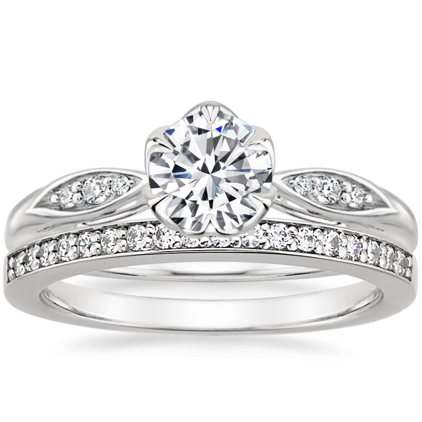 18K White Gold Peony Diamond Ring with Starlight Diamond Ring (1/8 ct. tw.)