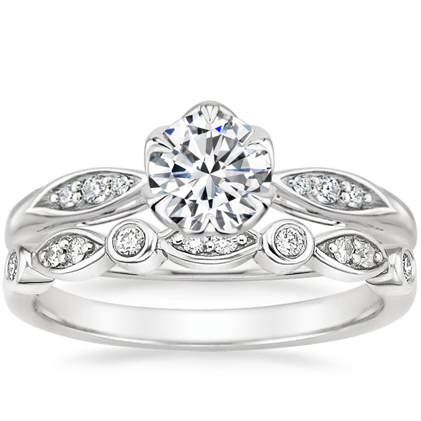 18K White Gold Peony Diamond Ring with Coronet Diamond Ring